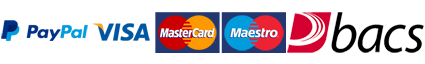 We accept payment by bacs, Paypal & all major credit and debit cards